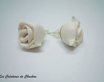 """Roses"" white polymer clay earrings"