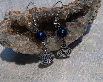 Earrings pearls Hematite