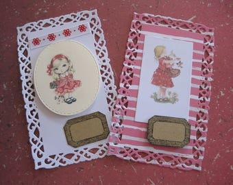 Cards, embellishments, lace girl kraft label paper, scrapbooking