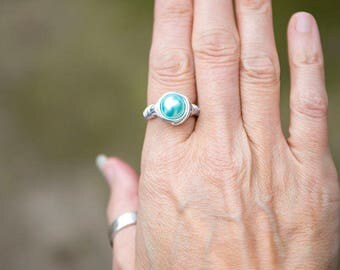 Wire wrapped pale aqua pearl bead ring, Statement Ring