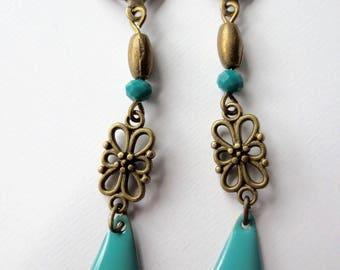 Earrings Anouchka blue green epoxy enamel and brass