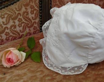 Antique christening bonnet, ex battesimo Cup, antique Hat accessory, french vintage baptism dress baptism, christening vintage Hat