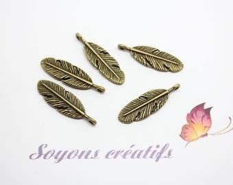 50 charms 9x30mm - SC14433 - Bronze feather Charm pendants