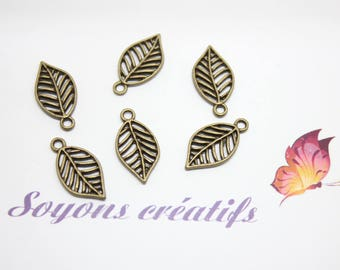20 charms Charm Bronze leaf jewelry - SC0080450 - creation-19x10mm