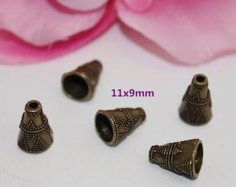 Set of 10 bead caps cone Bronze 11x9mm - SC13571-