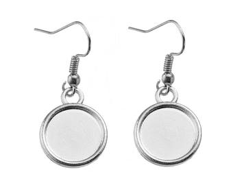 5 pairs earrings silver matte ring 12mm - SC0081135-