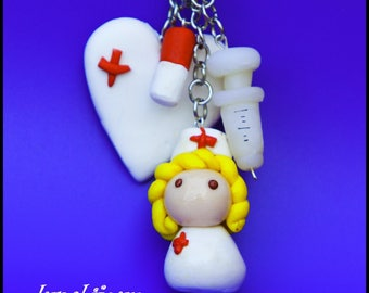 Nurse Keyring fimo with name - key ring is handmade to adopt materials: polymer clay nurse keychain