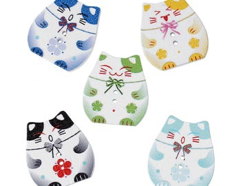 set of 7 buttons colored wooden cat shape