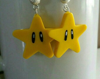 100% geeky kawaii fimo polymer clay Mario star earrings