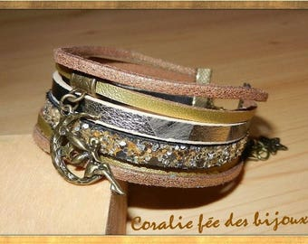 Cuff Bracelet gold leather, printed leather, suede spangled, glittery leather lune.tons gold fairy charm