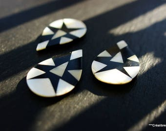 1 pattern inlay mother of Pearl 40 x 25 mm, marquetry