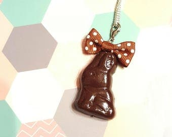 Polymer clay chocolate bunny necklace