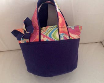 Mini tote bag Navy Blue and his butterfly colored