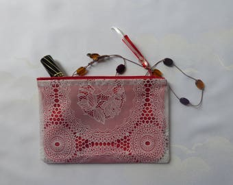 "Zip pouch in a clear vinyl, waterproof PVC ""lace"", red lining, make-up pouch bag handmade"