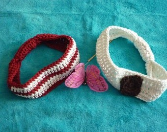 Crocheted set of two headbands for baby