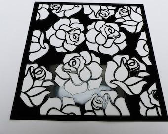 soft pink flower stencil square 15 centimeters