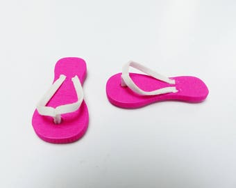1 pair of pink and white wooden tong adhesive 4.5 cm with a pastille