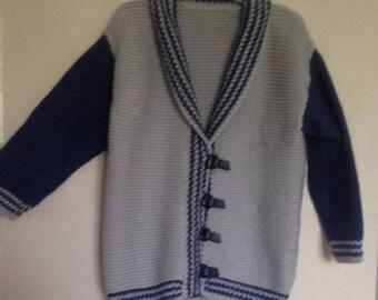 Hand knit shawl collar Cardigan.