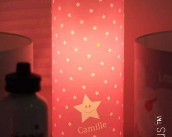 "Decorative lamp ""Rain of stars"" personalized - pink"