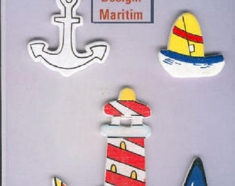 Stickers wooden 3d relief sea, Lighthouse and boats for scrapbooking