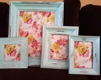 ON SALE Antique White Picture Frame Set-wall gallery-collection of 4-vintage style-photo frame-shabby chic-home wedding-glass and backing