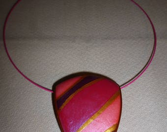 Choker necklace with Pendant in polymer clay