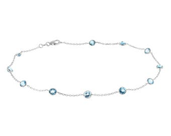 14k White Gold Handmade Station Ankle Bracelet With Round Blue Topaz Gemstones By the Yard