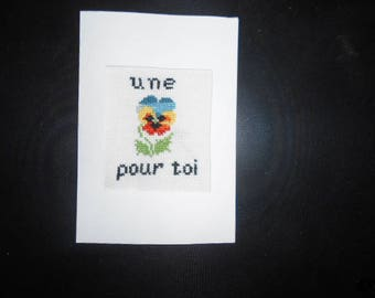 Hand embroidered card on canvas - mind