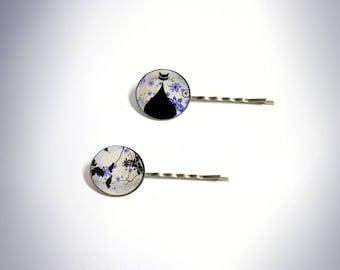 2 hair clips - vintage - black cat - purple sky
