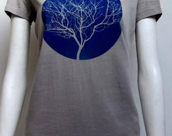 t-shirt woman printed tree green division, organic cotton, short sleeves, light gray