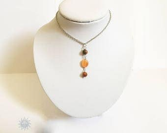 Sterling Silver with Earth Brown, oval pearls beads orange