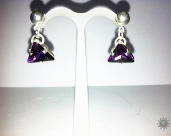 Silver purple swarovski earring