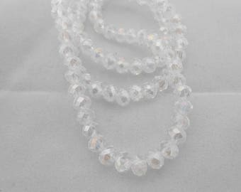 10 pearls 6 x 4 mm faceted white crystal. (9075850)