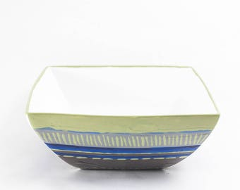 medium taupe green blue hand painted porcelain square Bowl