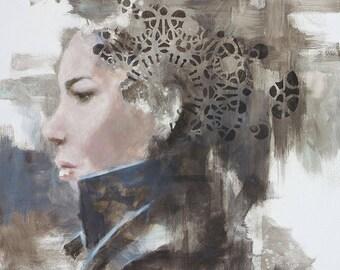 AMELIA // original oil painting on canvas female artwork 70x70 cm