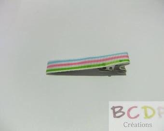 Rainbow Color White Ribbon hair clip