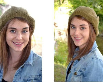 Beanie, beret in bronze color wool for adult or teenager - 2018