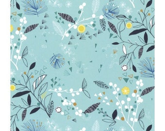 Dashwood Norrland green patchwork fabric Blue Lagoon, different foliage