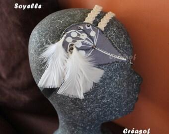 """""""Soyelle"""" headband, headband feathers, fabric, pearls"""