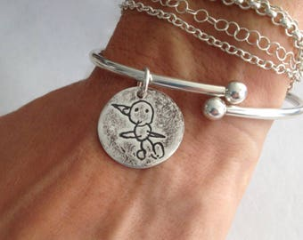Custom Actual Childs drawing. Sterling Silver Charm Cuff Bracelet with Removable Threaded Ball End - Made to order
