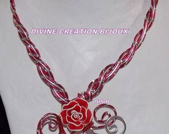 Set of red and White aluminium with polymer clay flower wire