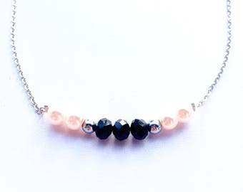 Light pink and black steel necklace