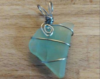 Seafoam Green Beach Glass Pendant