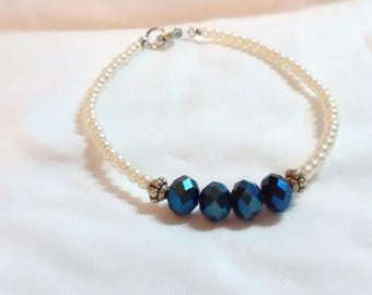 Beaded pearl and dark blue Swarovski crystal bracelet