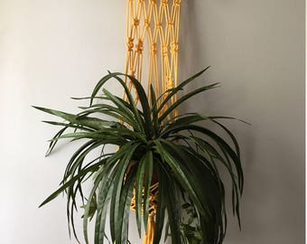 Yellow Macrame Hanging Planter