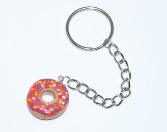 Strawberry Donut with Sprinkles Keychain | Polymer Clay