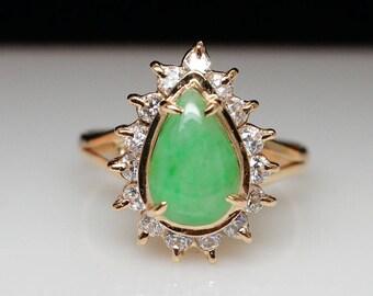 Vintage Jadeite Jade Cubic Zirconia Halo Ring - 10k Yellow Gold - Size 6.5