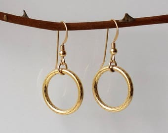 Gold Circle Earrings, Gold Dangle Earrings, Gold Earrings, Gold Drop Earrings, Gold Hoop Earrings, Gold Filled Earrings, Minimalist Jewelry