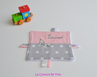 Tag blanket made handmade stars grey pink and Pearl Liberty mitsi @lacouturebytitia
