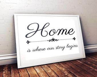 Home Is Where Our Story Begins  Digital Print